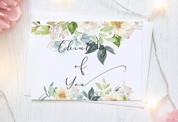 printable thinking of you floral watercolor card digital