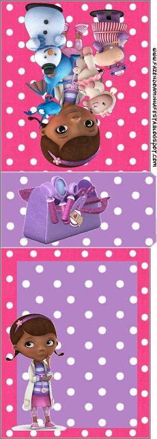 Doutora Brinquedos (Doc Mcstuffins) - Kit Completo com molduras para convites, rótulos para guloseimas, lembrancinhas e imagens!