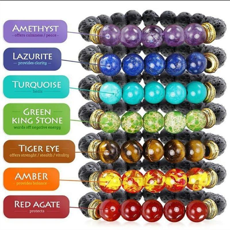 7 Chakra Bracelets 8 Mm Lava Rock Beads Each Bracelet Representing A