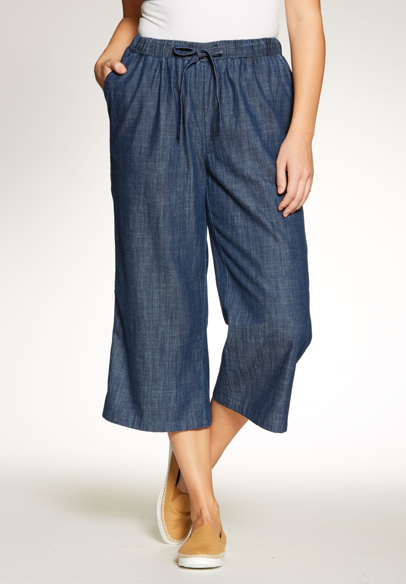 6a1cfd624d Chambray Drawstring Culottes - Women s Plus Size Clothing