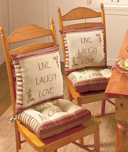 Live Laugh Love Tapestry Chair Cushion Set Seat U0026 Back Pad Kitchen Home  Decor