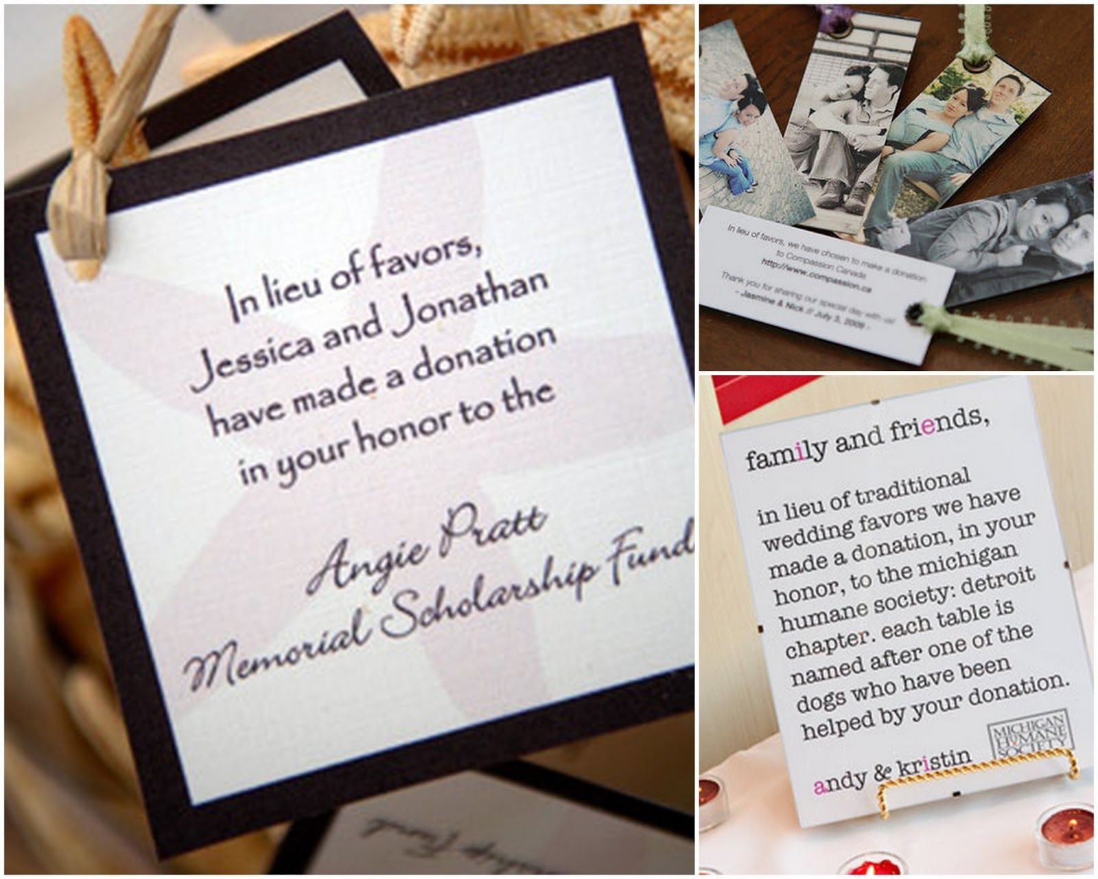 favor donations/table names - such a great idea! | Kim\'s Winter ...