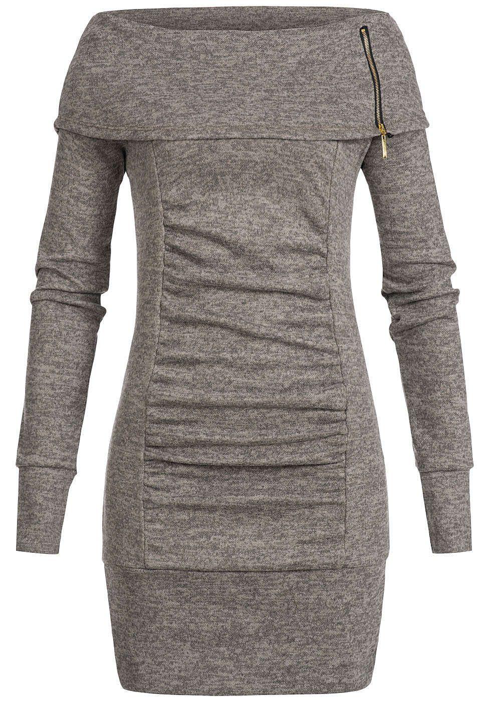 69d90236d775c9 Styleboom Fashion Damen Longform Sweater Zipper weiter Rollkragen fango  braun melange - 77onlineshop
