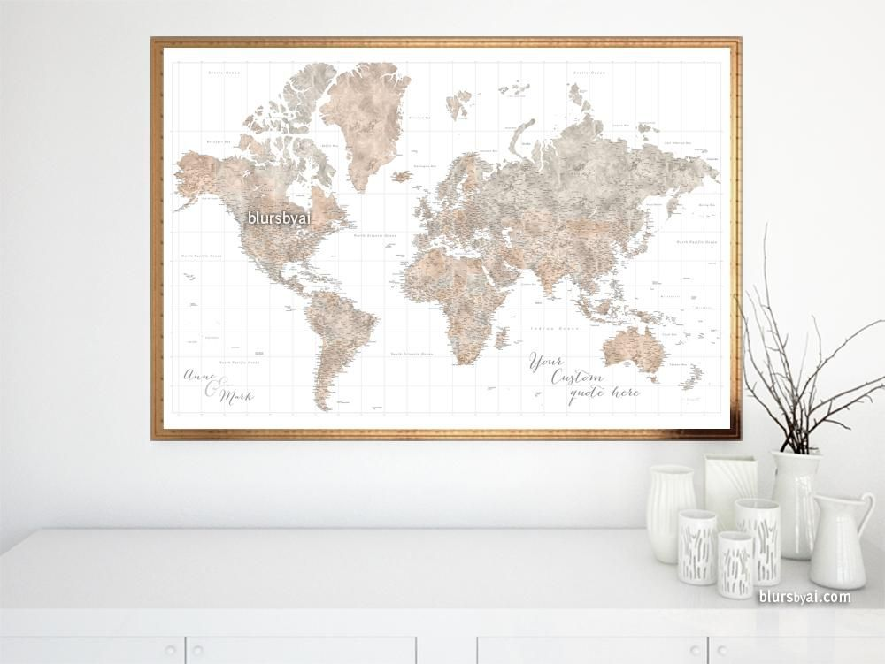 Personalized world map print highly detailed map with cities in personalized world map print highly detailed map with cities in neutral watercolor abey gumiabroncs Gallery
