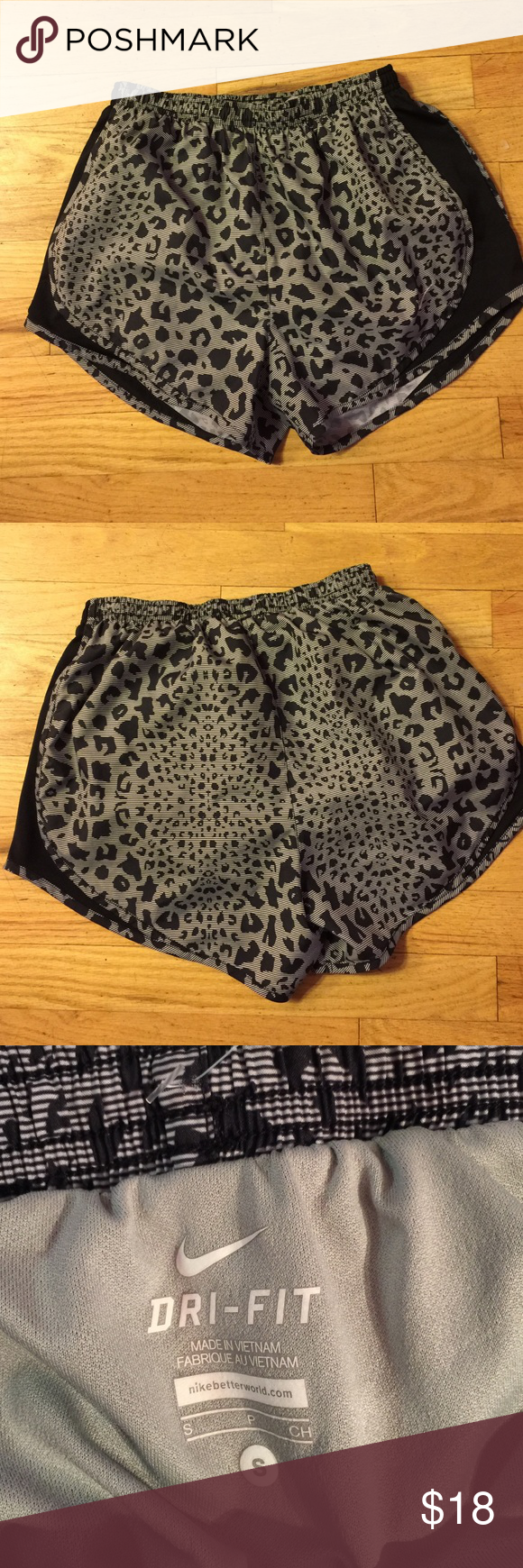 Nike s animal print DriFit shorts. Nike s animal print DriFit shorts. In like new clean condition. Has the inner underpants and tie at the waist. No trades Nike Shorts