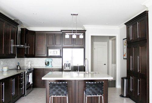 Kitchen Dark Stained Maple Cabinets White Countertops Tilefloors Dark Brown Kitchen Cabinets Kitchen Cabinets Color Combination Kitchen Inspiration Design