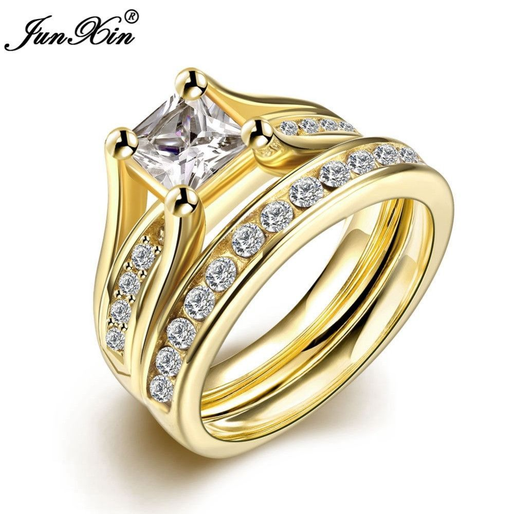 JUNXIN Geometric Design Male Female Yellow Gold Plated Wedding Ring Sets Stainless Steel Rings For Men And Women Jewelry SMT0391
