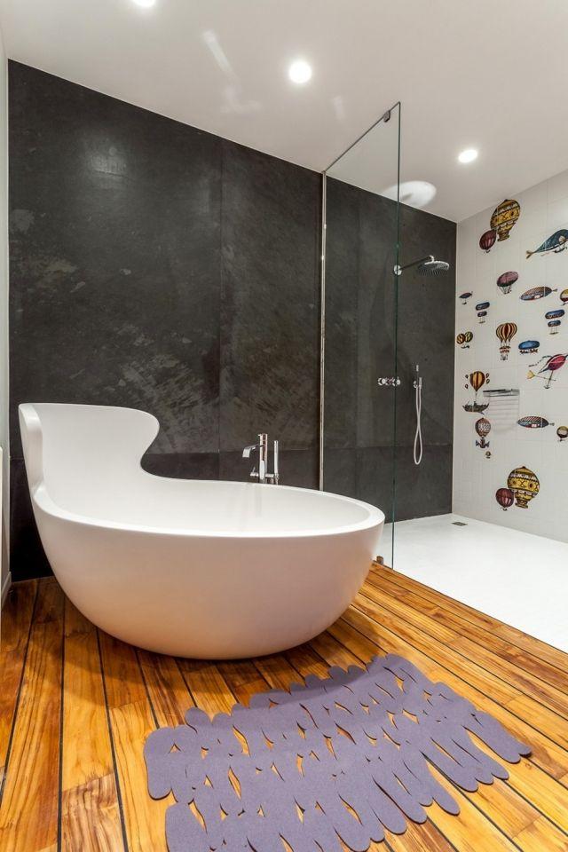 ideen-badezimmer-badewanne-rückenlehne-ergonomisches-design-Dusche - badezimmer dusche badewanne