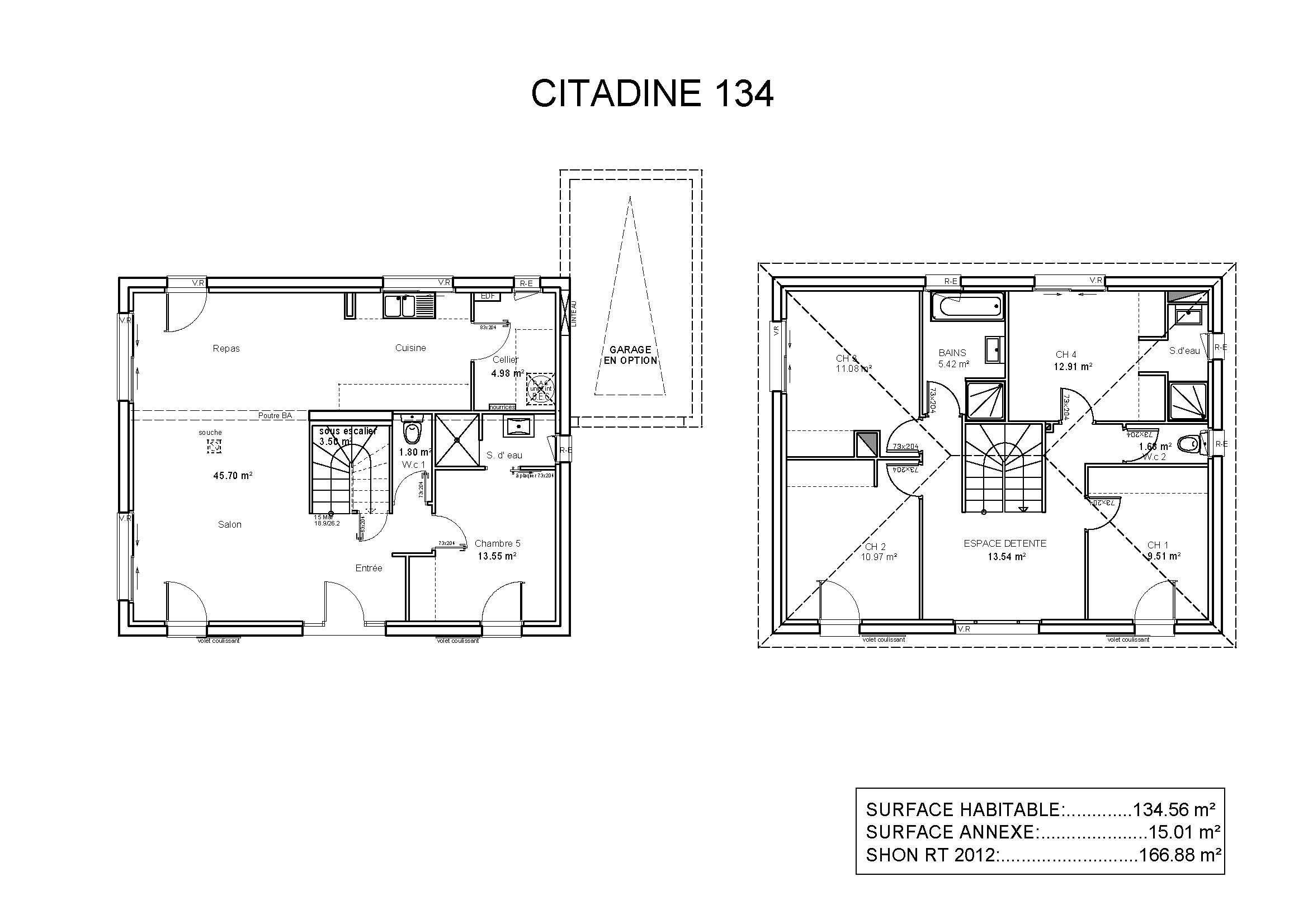 Modeles Et Plans De Maisons Modele A Etage Ligne Citadine Constructions Demeures Cote Argent Plan De Maison A Etage Plan Maison Etage Plan Maison 100m2