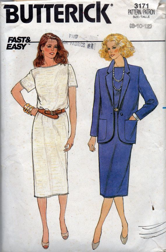 1980s Butterick 3171 Misses Easy Pullover Dress and Jacket Pattern ...