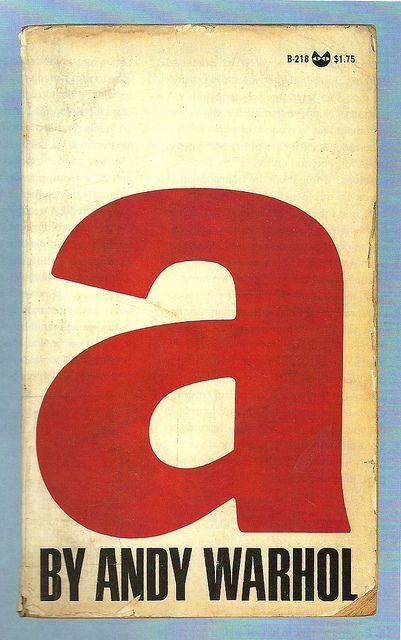 "Punchy modern typography announces this stream-of-consciousness account of a day at Warhol's Factory, ""A"" began with tapes Andy made in 1965 with his new Norelco tape recorder. These were later transcribed, and published as a Grove Press book shortly after he was shot on June 3, 1968."