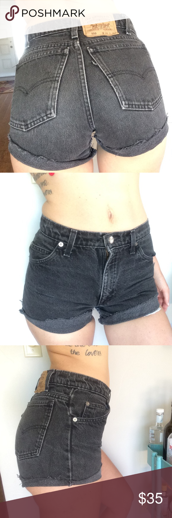 "🍑 cheeky Levi's cutoffs Super cute 100% cotton made in USA Levi's cutoffs in faded black denim.  So cute on, a cheeky diagonal cute, v flattering to the booty, comfy thick denim.  10.5"" rise, 14.5"" waist laying flat (29"" total) & too short/small on me @ 5'11, size 4/28 with juicier thighs and booty 😎😜 marked as 30 but like I said, runs small IMO but check measurements against your own.  Hips 18"" wide laying flat.  Leg opening 11"" inseam 2.5"" bought from a local small boutique and worn…"