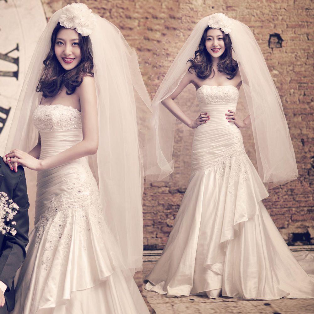 white wedding cutting fishtail dress - zzkko.com $398