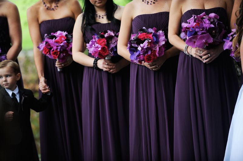 Pretty Eggplant Purple Bridesmaid Dresses With Coordinating Purple