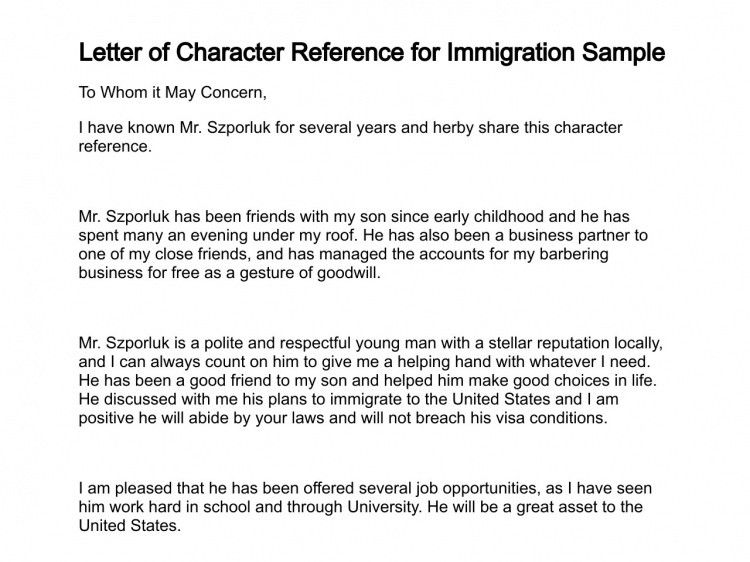 Sample Reference Letters For Immigration Fresh Letter Of Character