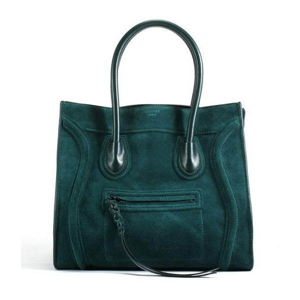 1b967f4ca31 Celine Luggage Phantom Square Bags in Suede Atrovirens