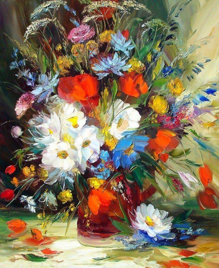 Imágenes Arte Decorativo Alexander Sergeev Pinturas Florales Pintura Con Espátula Flores Pintadas
