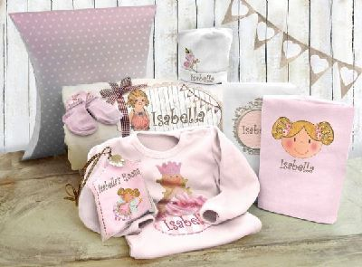 A magical personalized pink set for the new Princess.  This lovely Birth gift contains:    * Soft and useful baby blanket  * Pair of little socks.  * Cute bodysuit - short or long - 100% cotton (choose your color : Pink or Cream )  * 2 top quality tetra diapers - 100% cotton muslin  * Soft royal hat.  * Miniature pillow , decorated with a ribbon & a crystal Bead.  Price: $129