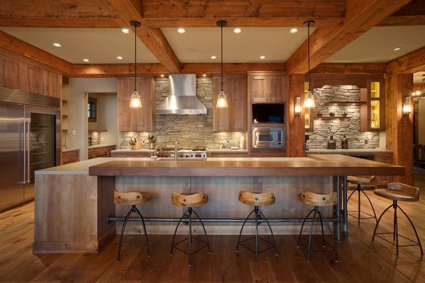 Rustic Kitchen Wood Flooring Exposed Beams Stone Kitchen Backsplash