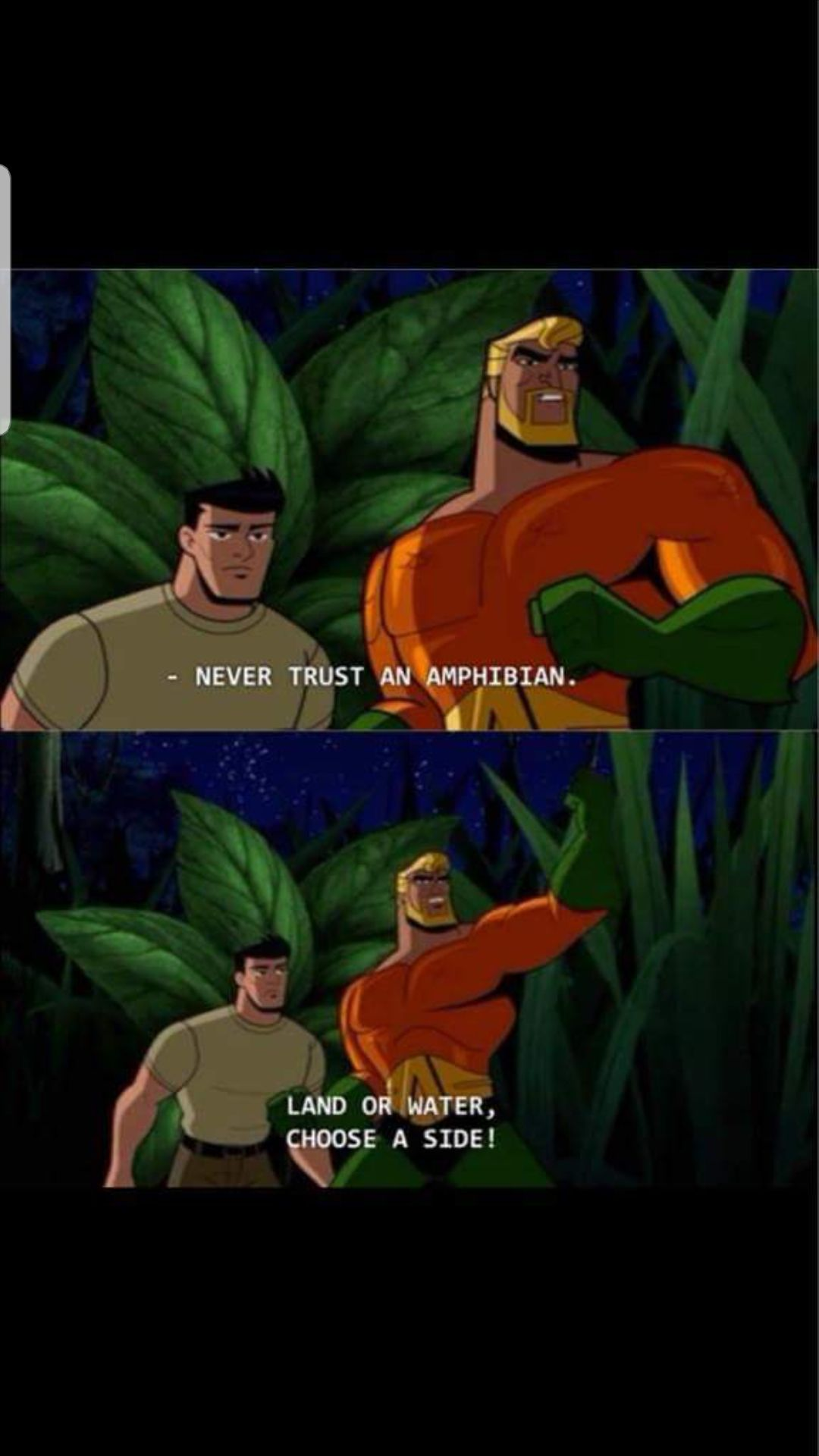 Aquaman doesn't trust frogs Aquaman, Funny pictures