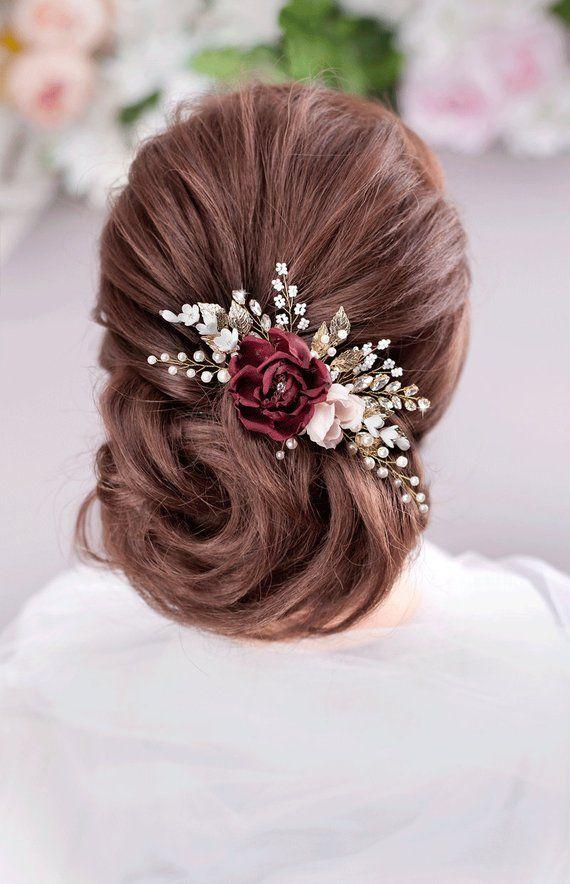 503d7b5ebfdc Burgundy Blush flower comb Burgundy wedding Maroon Flower comb Burgundy  Floral Hair Comb Burgundy hair accessories Marsala Bridal Hair Comb