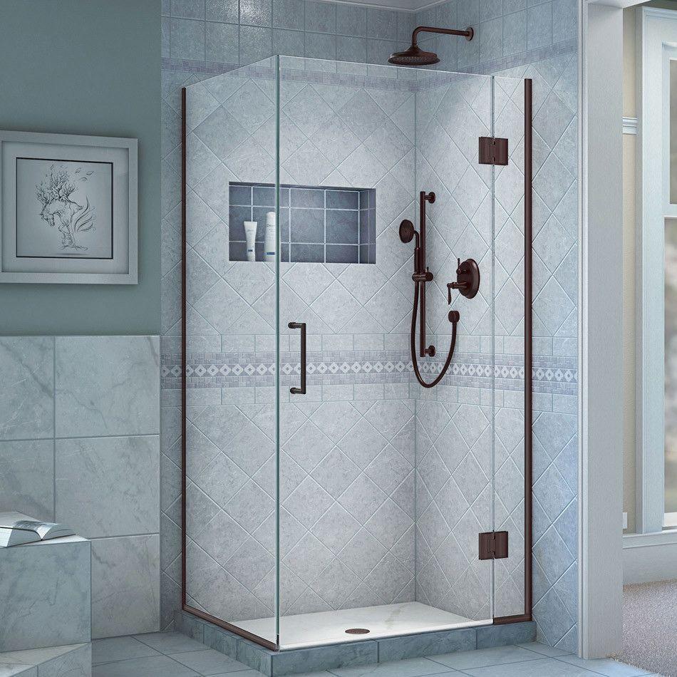Unidoor X 34 3 8 W X 30 In D X 72 In H Frameless Hinged Shower Enclosure Shower Doors Frameless Shower Enclosures Shower Enclosure