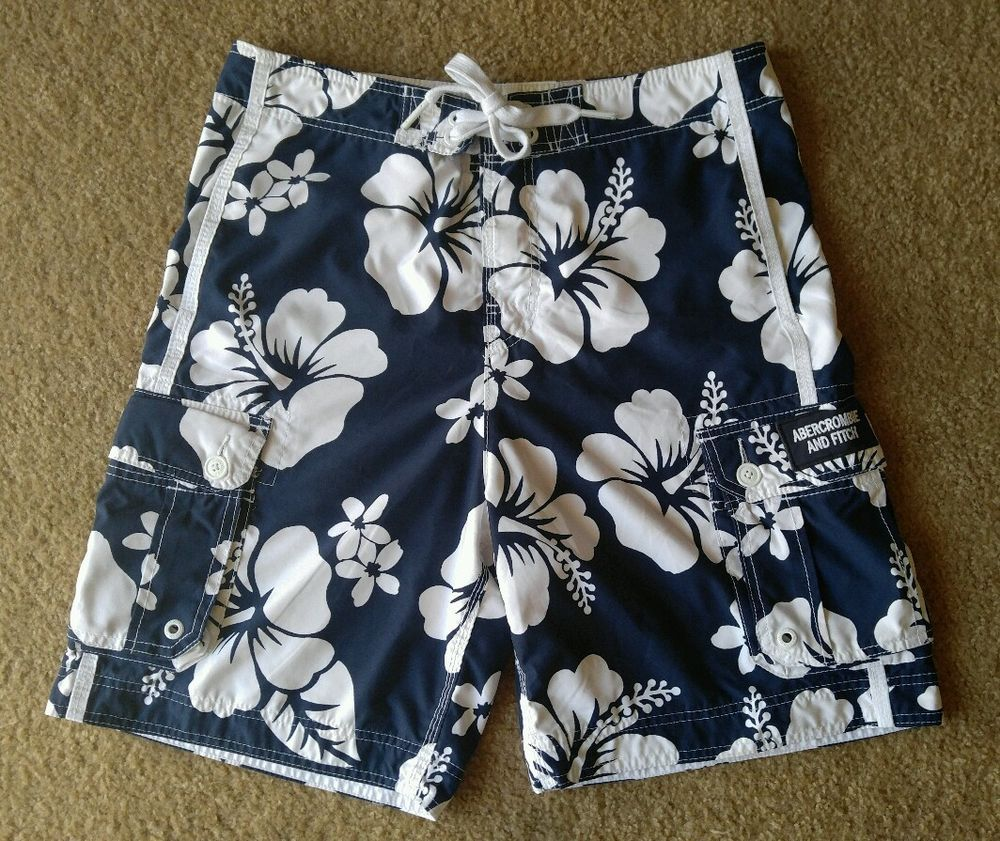 5cd4810446 Abercrombie Fitch Blue White Polyester Hawaiin Flower Swim Trunks Shorts L  #AbercrombieFitch #Trunks