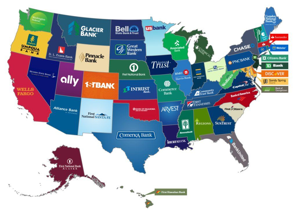 The Biggest Bank From Every US State Geography Nerd - Who Has An Alliance With The Us Map
