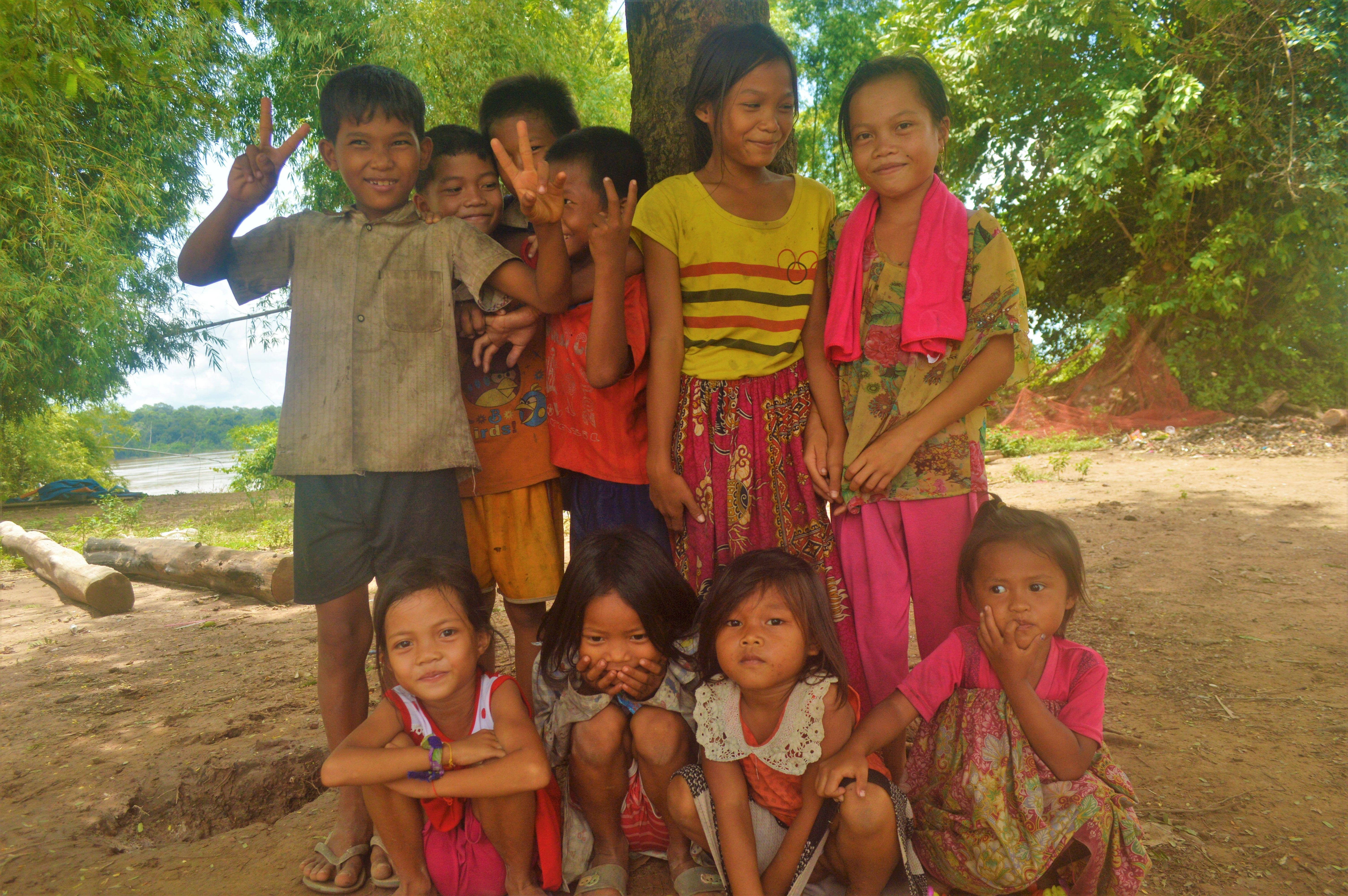 bathing children cambodia