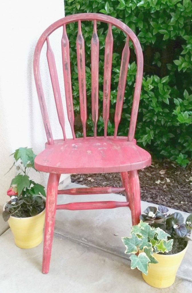 2016 Thrift Store Decor Upcycle Challenge - Red Weathered Chair