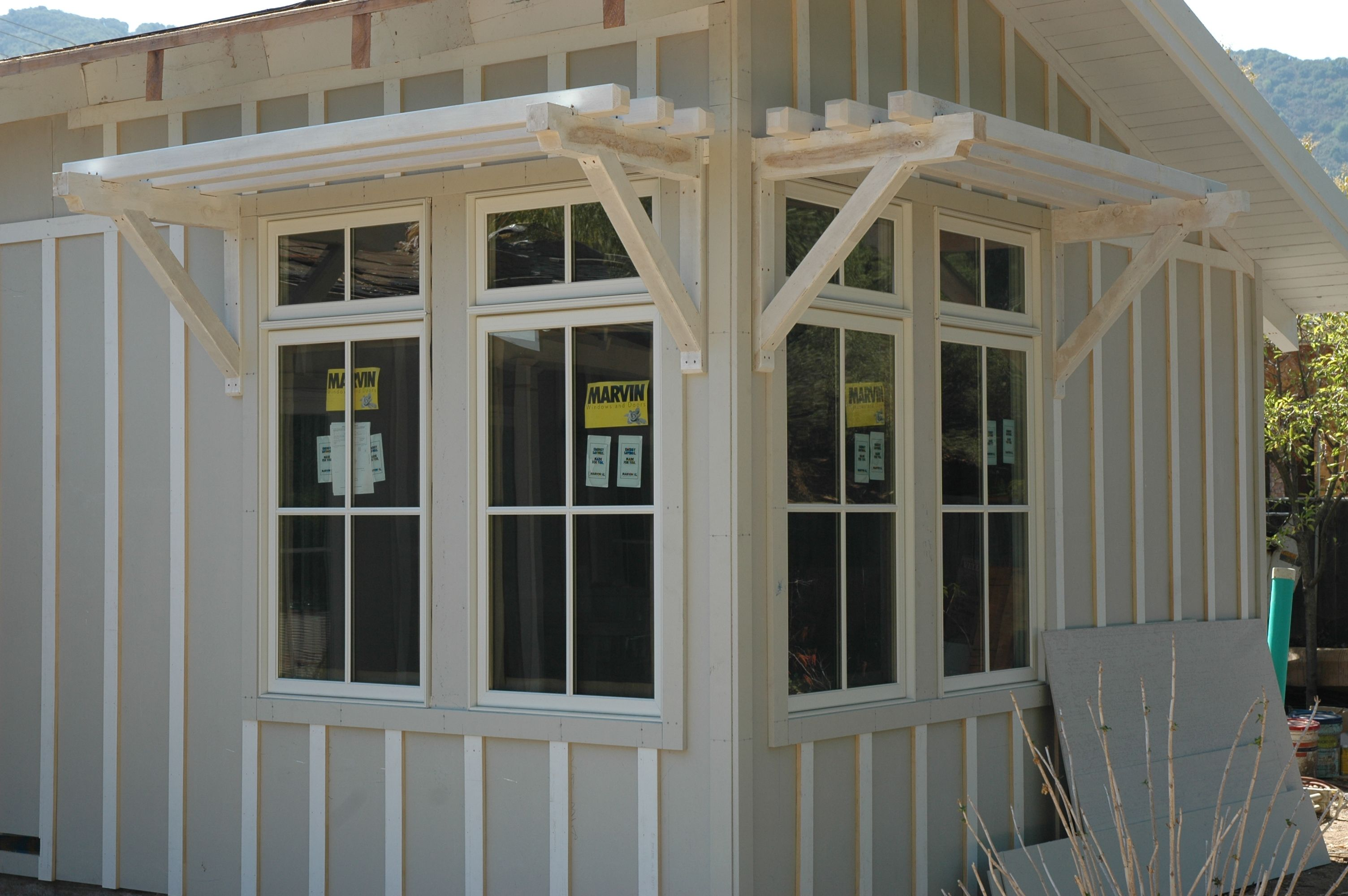 Exterior windows - Marvin Clad Ultimate Double Hung Windows Stone White Exterior With 7 8 Simulated