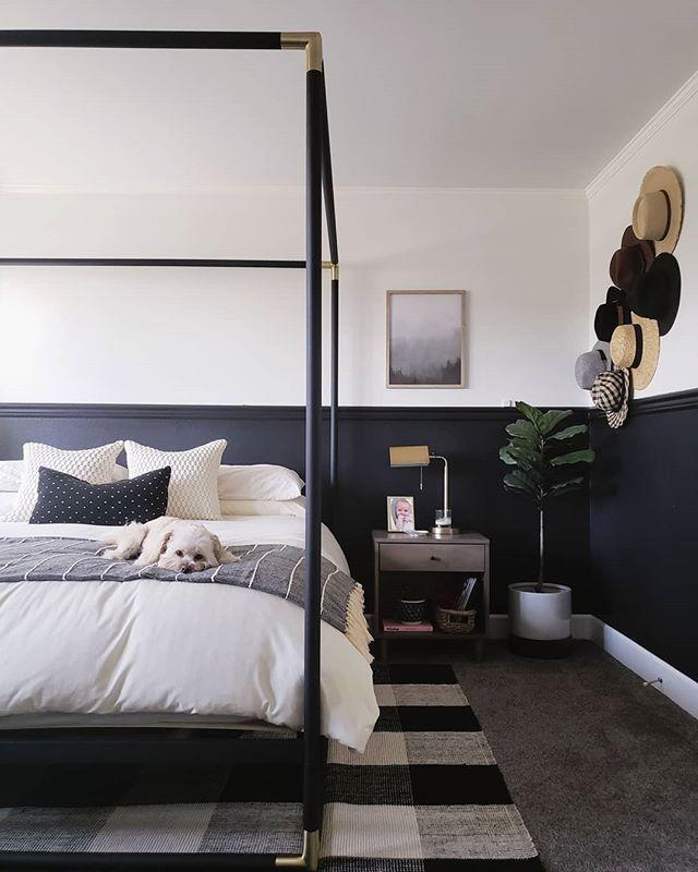 Modern Master Bedroom. Black and White Bedroom. Four ...