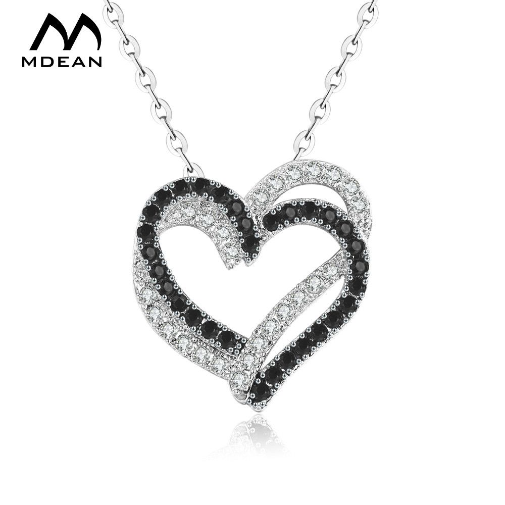 Mdean white gold color jewelry heart shaped aaa zircon jewelry for