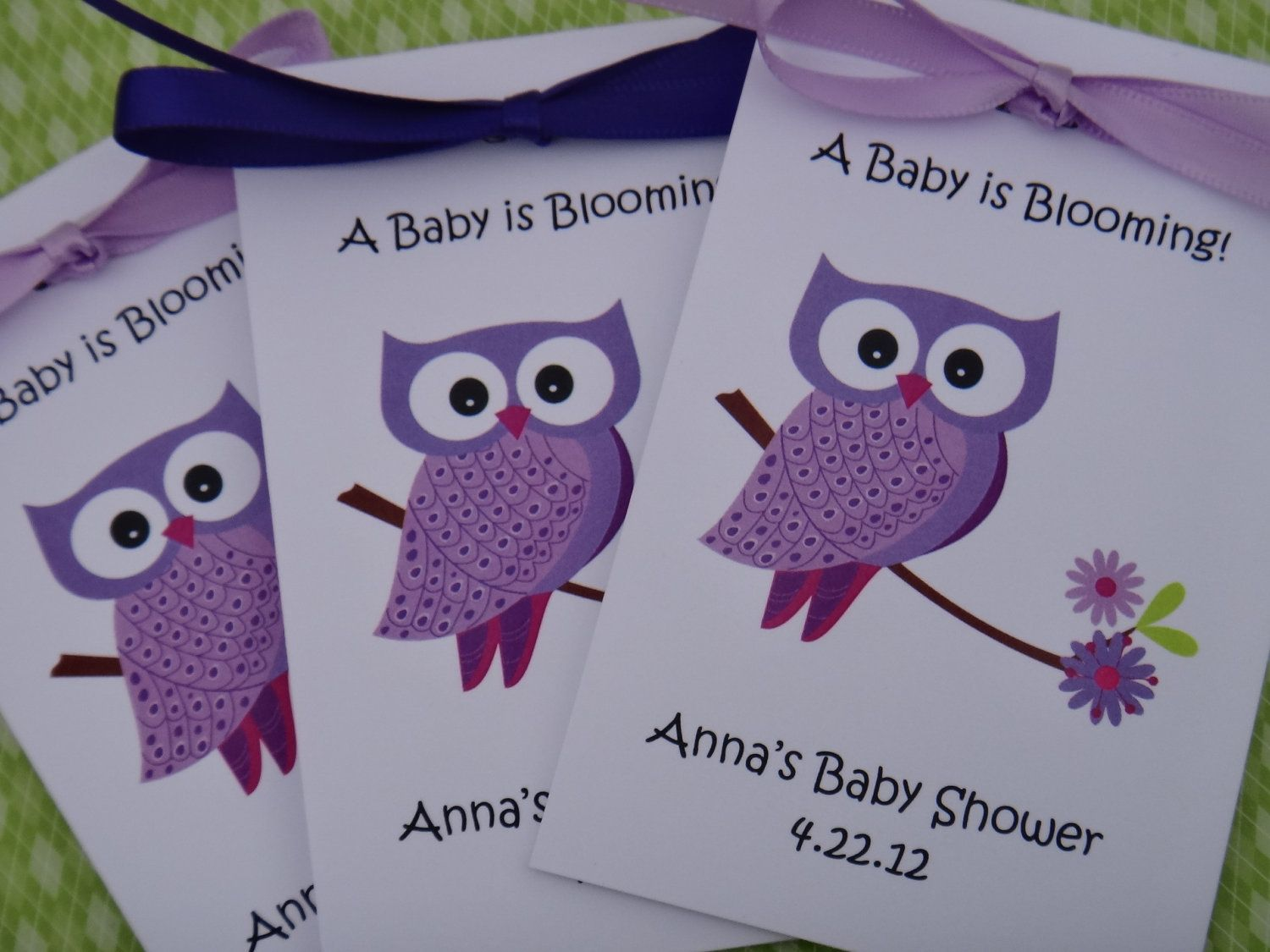 Baby Shower Favors Seeds ~ Purple owl flowers baby shower birthday party flower seeds packets