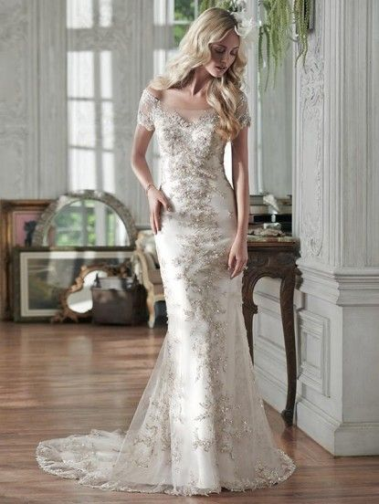 Maggie Sottero Riviera sheath lace wedding dress with bateau neckline and cap sleeves toronto front