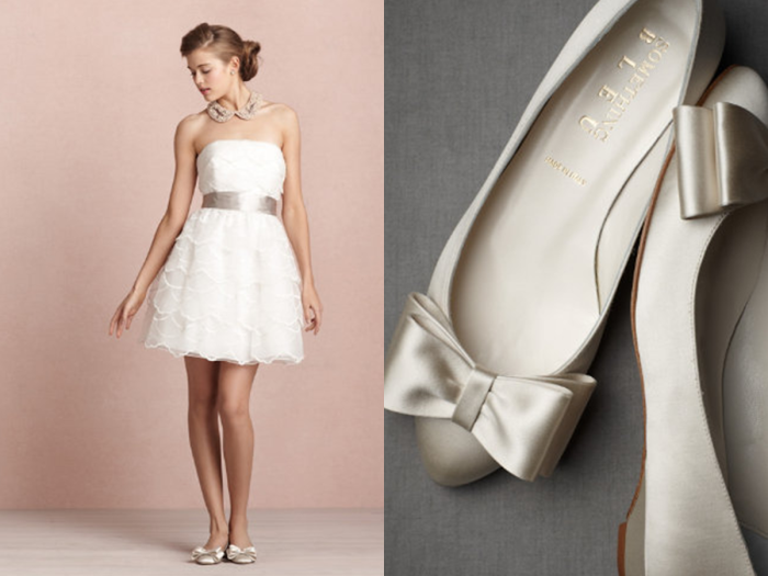 0ce4affffc6d Pairing short wedding dresses with flats is a great alternative to heels