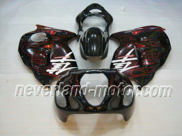 SUZUKI GSX-R 1300 1996-2007 Hayabusa ABS Fairing - Red Flame  #hayabusafairingkit #suzukihayabusafairingkit