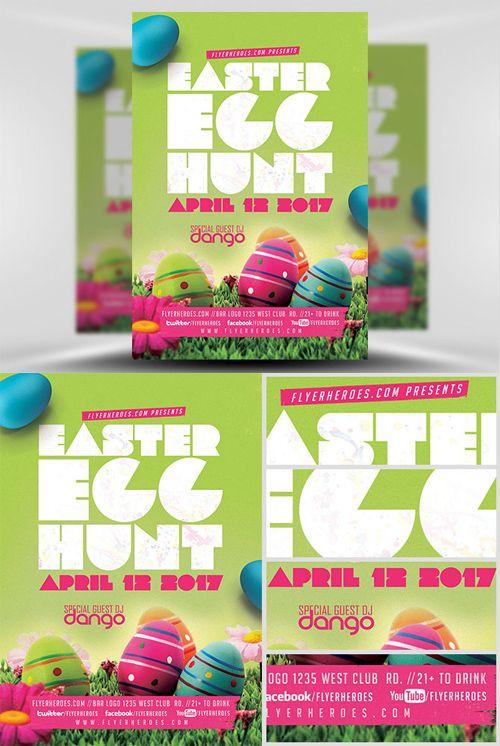 Flyer Template - Easter Egg Hunt v2 PSD исходники Pinterest
