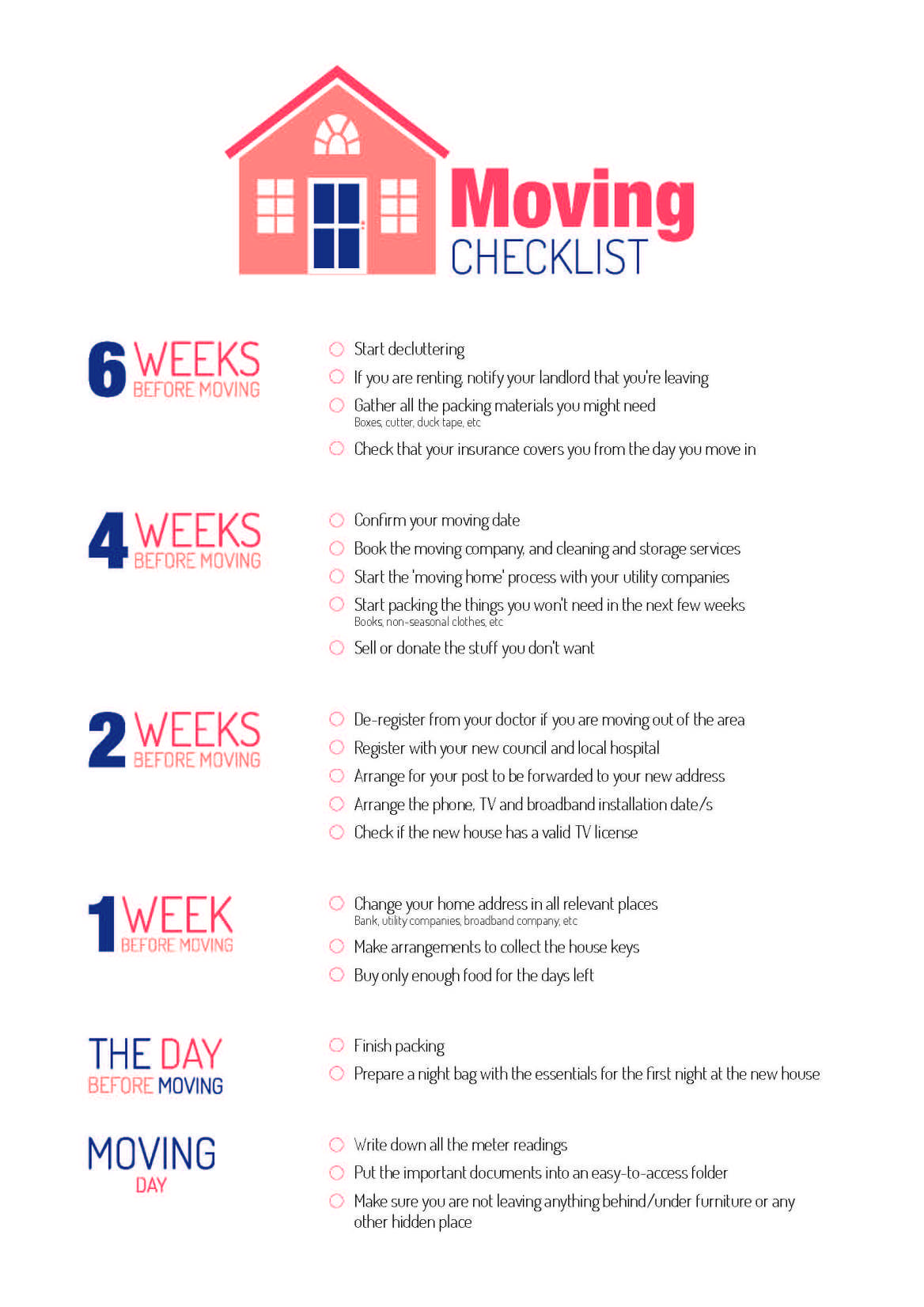 Moving Checklist Moving House Checklist Moving House Moving