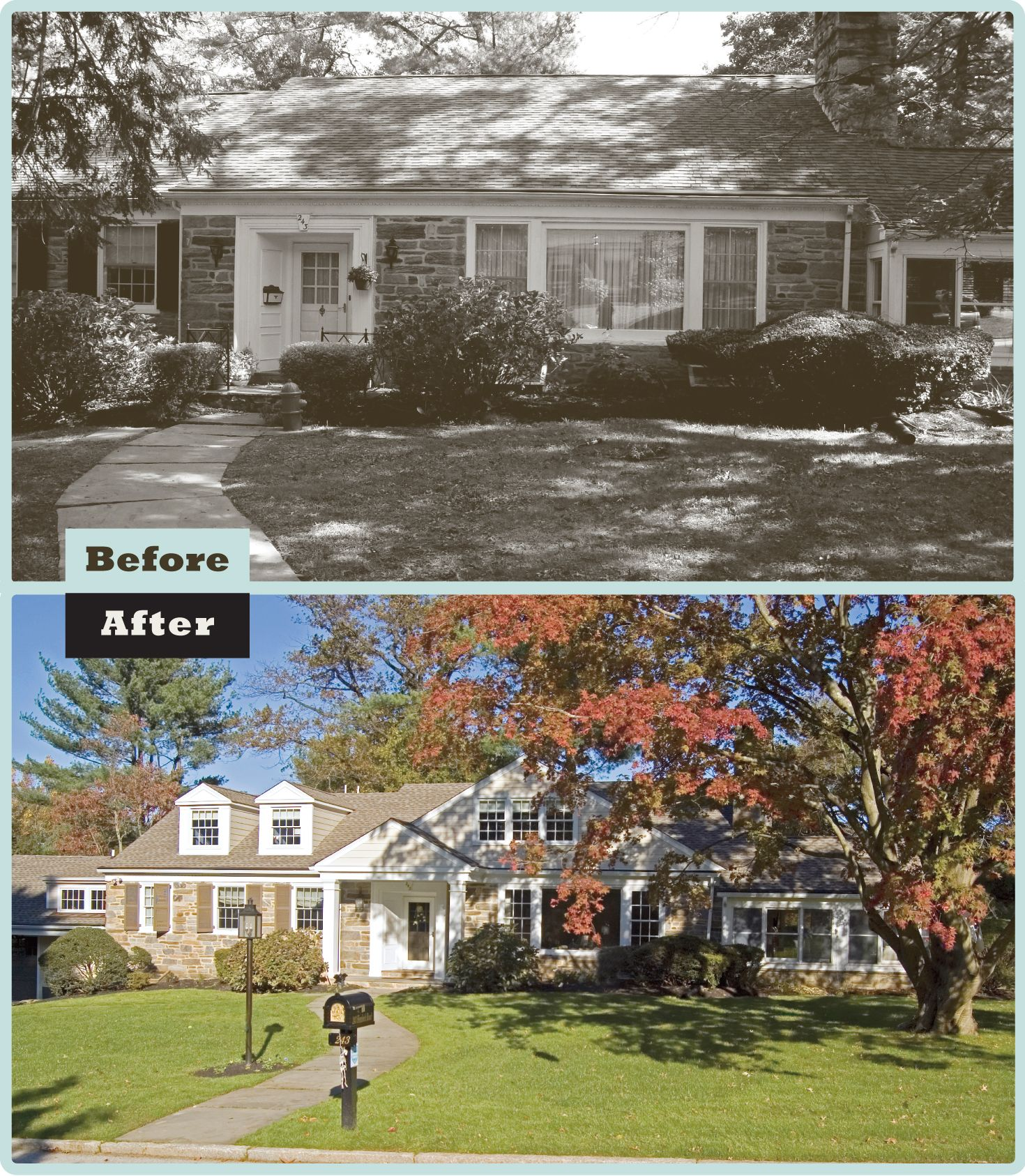 Two Story Addition: Before & After: Second Floor Gabled Addition