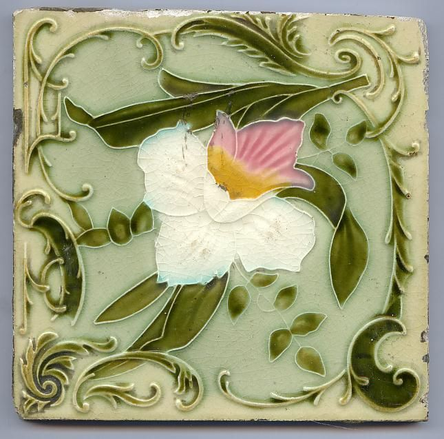 Art Nouveau Majolica - WHITE & PINK ORCHID - 1890 to 1910 - Ceramic Tile