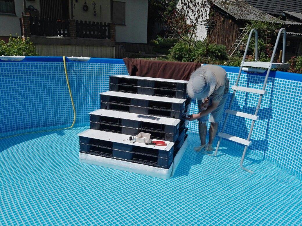 Above Pool Pool Treppe Pool Stairs Dog Stairs Dog Ramp Hundetreppe Swimming Pool Decks Backyard Pool Swimming Pool Hot Tub