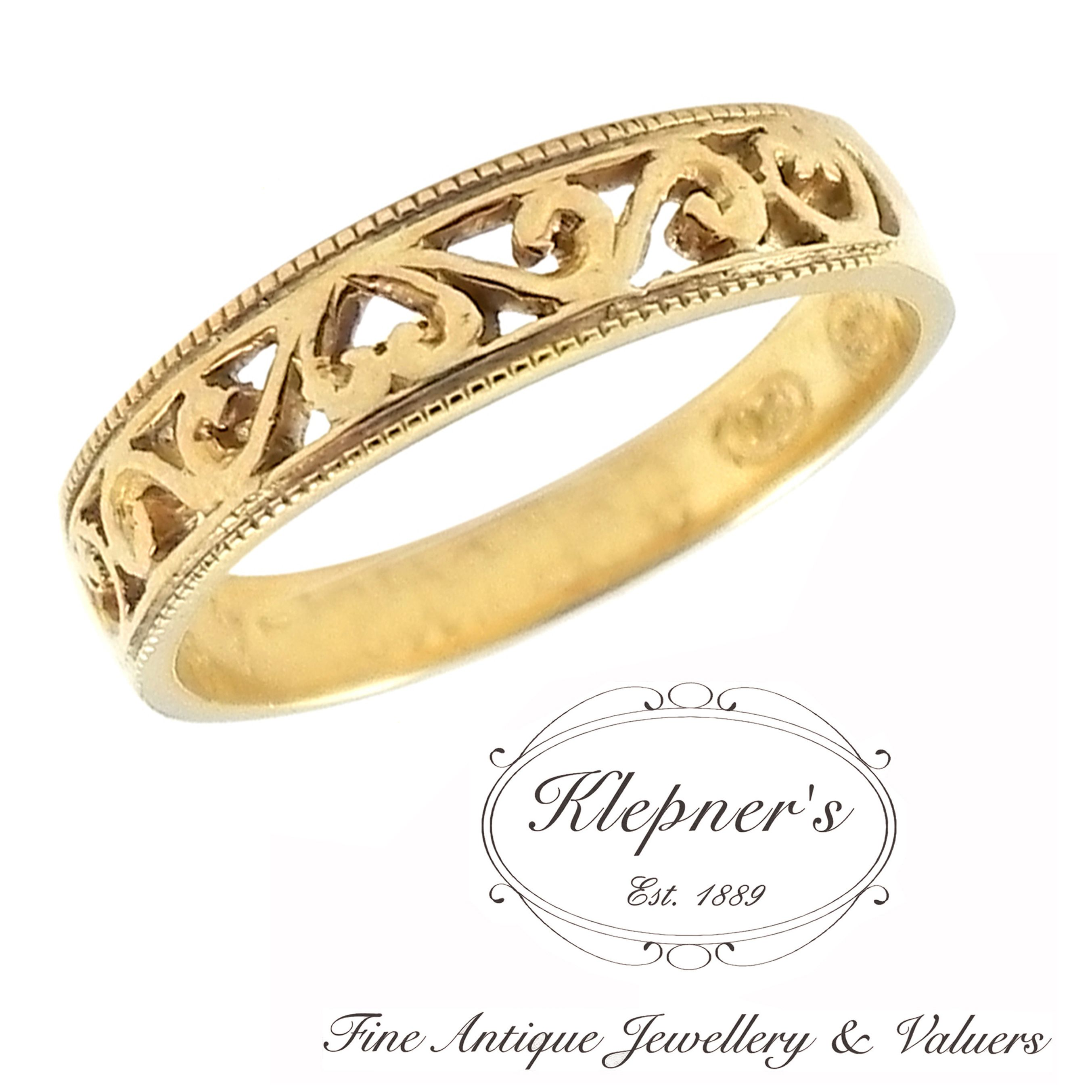 VINTAGE INSPIRED FILIGREE WEDDING BAND. Price shown is based on custom making this bespoke Vintage inspired filigree wedding band, made to order in 18ct yellow gold, for a finger size M.   This Vintage inspired wedding band can be crafted in 9ct or 18ct white, rose or yellow gold, platinum or sterling silver. Visit us at www.klepners.com.au