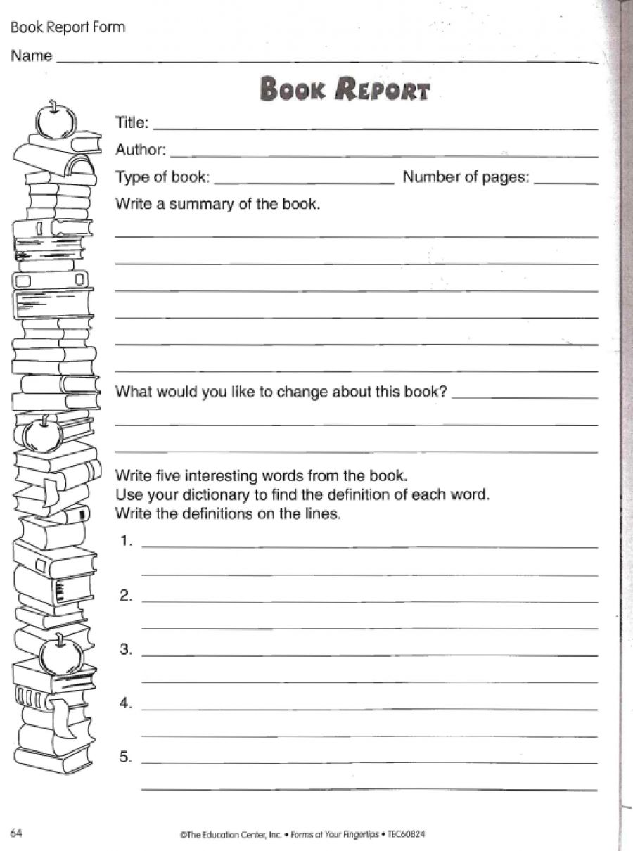 Book Report Worksheet  Book Reports Trip Papers