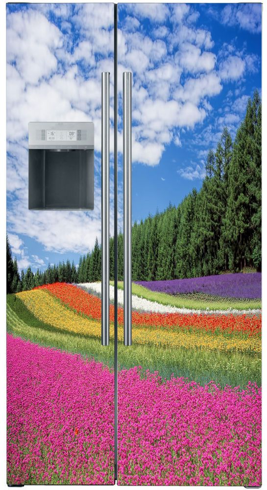 Rainbow Flowers Vinyl refrigerator decals , Fridge wraps