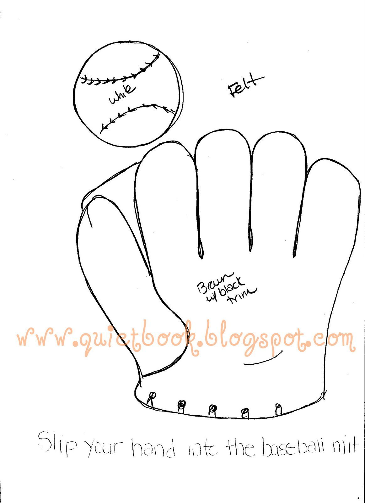 Baseball Glove Template Quiet Book Templates Quiet Book