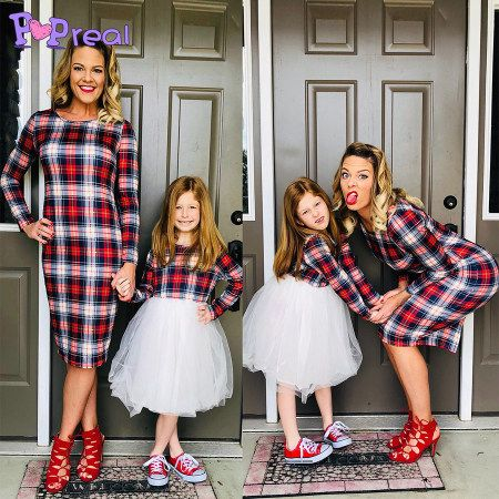 ecd4af22f7 Mom Girl Plaid Tulle Matching Dress | Maternity Outfits | Mom dress ...