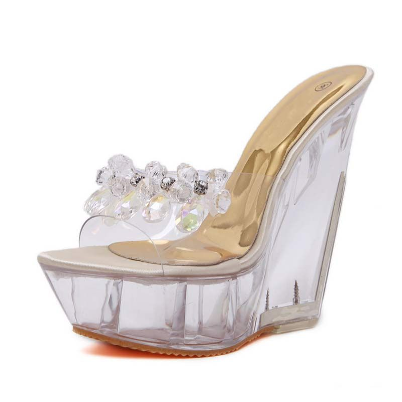 summer woman shoes Sexy Crystal Crystal Transparent 2017 Women s High-Footed  Platform Foot Shoes 14 cm Large Size Shoes 35-40 c0c99a33e1d0