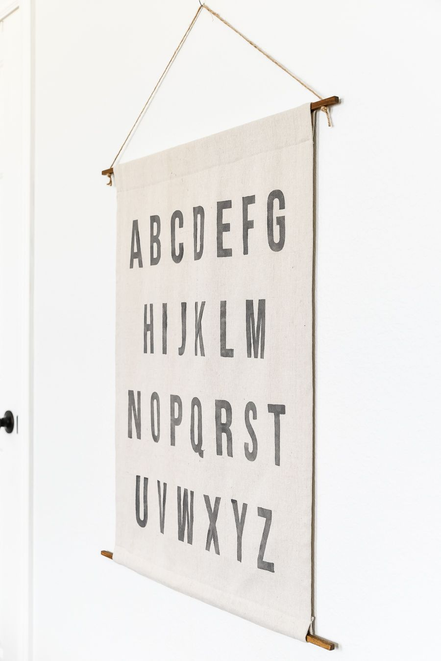 Diy Alphabet Wall Hanging From Canvas Drop Cloth Emily S Project List In 2020 Canvas Drop Cloths Drop Cloth Wall Hanging Diy