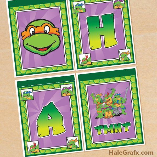 FREE Printable Retro TMNT Ninja Turtle Birthday Banner – Free Teenage Mutant Ninja Turtles Birthday Invitations
